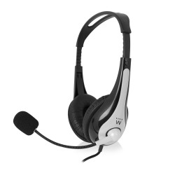 Ewent - EW3562 Binaural Diadema Negro, Plata auricular con micrófono