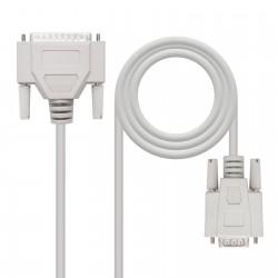Nanocable - 10.14.0803 cable de serie Beige 3 m DB9 DB25