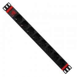 WP - WPN-PDU-C01-08 unidad de distribución de energía (PDU) 1U Negro, Rojo 8 salidas AC