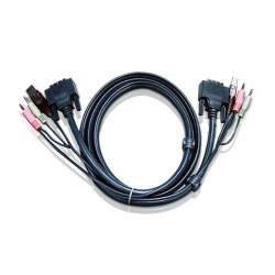 Aten - 6ft USB DVI-D Single Link cable para video, teclado y ratón (kvm) 1,8 m Negro