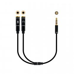 Nanocable - Cable adaptador Audio Jack 3.5/M 4pines - 2xJack 3.5/H 3pines, negro, 30 cm