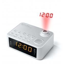 Muse - M-178 PW radio Reloj Digital Plata, Blanco