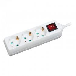 LogiLink - LPS206 base múltiple 1,4 m 3 salidas AC Blanco