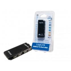LogiLink - 4-Port USB 2.0 Hub nodo concentrador 480 Mbit/s Negro