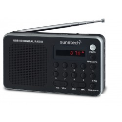 Sunstech - Portable digital AM/FM silver radio Portátil Analógica Negro, Plata