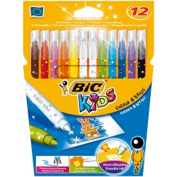 BIC - Colour & Erase rotulador Negro, Azul, Verde, Lila, Naranja, Rosa, Rojo, Amarillo 12 pieza(s)