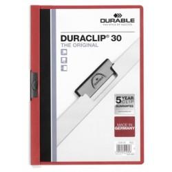 Durable - Duraclip 30 archivador Rojo, Transparente PVC