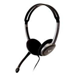 V7 - HA212-2EP auricular con micrófono Binaural Diadema Negro, Plata