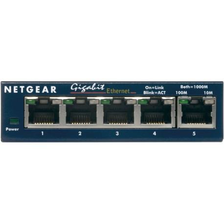 Netgear - GS105 Conmutador de red no administrado Gigabit Ethernet (10/100/1000) Azul