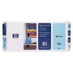 HP - Limpiador de cabezales de impresión y cabezal de impresión colorante DesignJet 81 cian claro