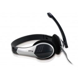 Equip - 245300 auricular con micrófono Diadema Binaural Negro, Plata