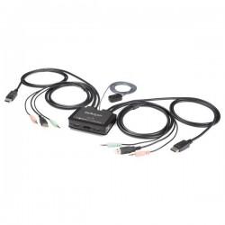 StarTech.com - Switch Conmutador KVM de 2 Puertos DisplayPort 4K60Hz con Cables Incorporados