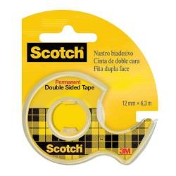 Scotch - PACK 12 CINTAS ADHESIVAS DOBLE CARA EN PORTA ROLLOS (12MMX6M) SCOTCH 3M136D