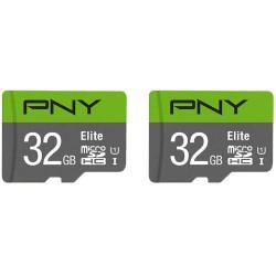 PNY - PNY MICROSD PACK 2 x 32GB ELITE 100MB/S CL10/UHS-I/U1 (P-SDU32X2U185EL-GE)