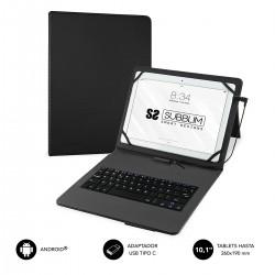 """SUBBLIM - Funda con Teclado Micro USB - USB C KEYTAB PRO USB 10,1"""" Black"""