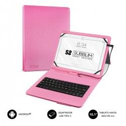 """SUBBLIM - Funda con Teclado Micro USB - USB C KEYTAB PRO USB 10,1"""" Pink"""