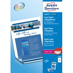 Avery - Avery Zweckform Premium Colour Laser Photo Paper 170 g/m², A4 (210x297 mm), Impresión láser, Brillo, Blanco, 170 g/m², F