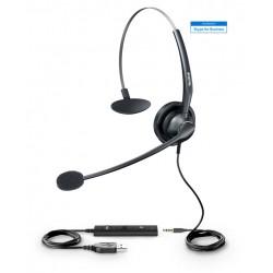 Yealink - UH33 auricular y casco Auriculares Diadema Conector de 3,5 mm Negro