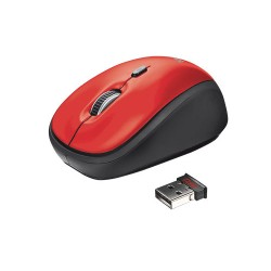 Trust - 19522 RF inalámbrico Óptico 1600DPI Rojo ratón