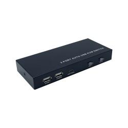 AISENS - Conmutador KVM HDMI 4K@60HZ USB 1U-2PC con fuente alimentación, Negro