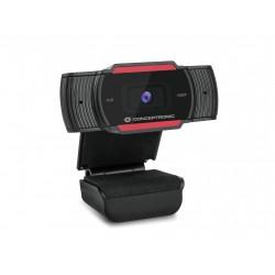 Conceptronic - AMDIS 1080P Full HD Webcam with Microphone cámara web 1920 x 1080 Pixeles USB 2.0 Negro, Rojo