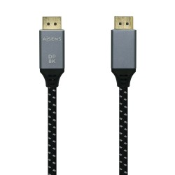 AISENS - Cable Displayport V1.4 8k@60hz, DP/M-DP/M, Gris/Negro, 1.5m