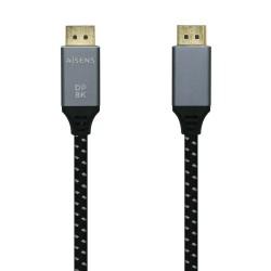 AISENS - Cable Displayport V1.4 8k@60hz, DP/M-DP/M, Gris/Negro, 1.0m