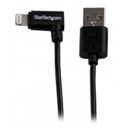StarTech.com - Cable Lightning de 8 Pin Acodado a la Derecha de 2m USB 2.0 para Apple iPod iPhone 5 iPad - Negro