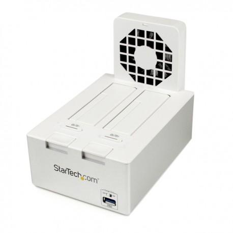 """StarTech.com - Estación de Conexión con Ventilador USB 3.0 UASP 2 Bahías Disco Duro SATA 2,5"""" y 3,5"""" Hub USB - Blan"""
