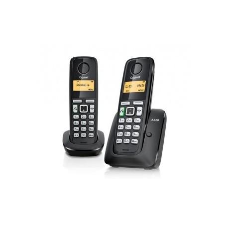 Gigaset - A220 DUO DECT Identificador de llamadas Negro