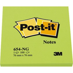 Post-It - POS BLOC NOTAS 76X76 VE NEON 654N-VERDE