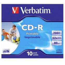 Verbatim - CD-R AZO Wide Inkjet Printable 700 MB 10 pieza(s)
